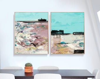 Set of 2 Prints, Abstract Art Print Set, 2 Abstract Prints, digital downloads, 16x20 prints, Abstract Landscape, instant download Art