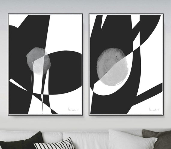 Set of 2 prints 2 black white abstract art printable
