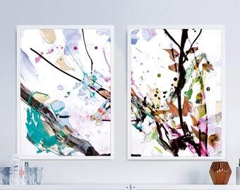 Set of 2 Prints, Abstract Flower Art, digital downloads, Floral Prints, Printable Abstract, instant download, Pink Living Room Art Da