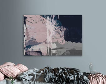 Printable Abstract Art, Navy Blue and Pink Art, instant download art, Large Abstract Art, Blush Pink Wall Art, 24x36 wall art, 24x36 print