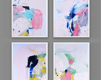 """Abstract Art Print Set, Abstract print set of 4, digital downloads, Printable Abstract, instant download, each one 10""""x8"""" size, Art set"""