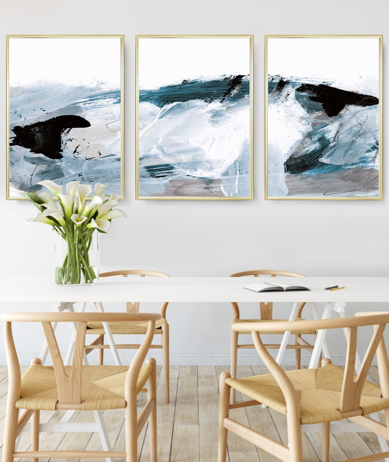 Abstract Art Print Set Set of 3 Prints Ocean Print digital image 0