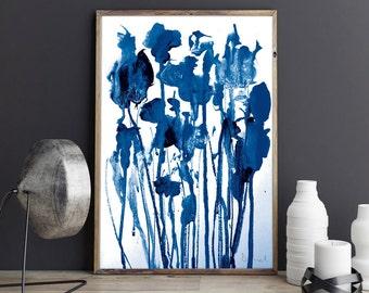 Printable Abstract, Large Art Prints, Brush Prints, Simple Prints, Navy Blue Painting, Minimalist Art, Dan Hobday, Paintbrush Art
