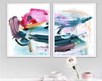 Set of 2 Prints, Abstract Art Prints, Large Wall Art, Printable Abstract Art, 16x20 Wall Art, instant download Art, Bedroom Art Print