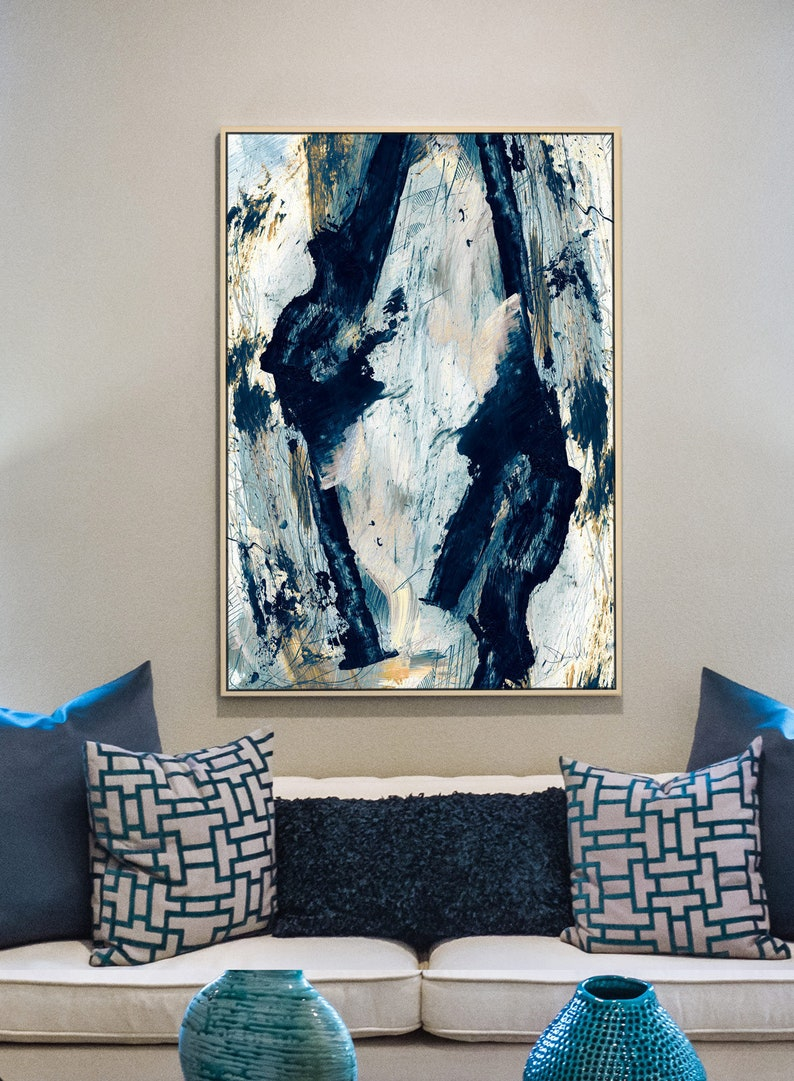 Large Abstract Painting Large wall art Gold and Blue Art image 0