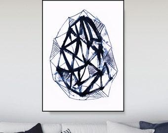 Printable Abstract, Large Art Prints, Sandinavian Print, diamond art, Navy Blue Art, Minimalist Art, Brush Stroke Print, Paintbrush Art