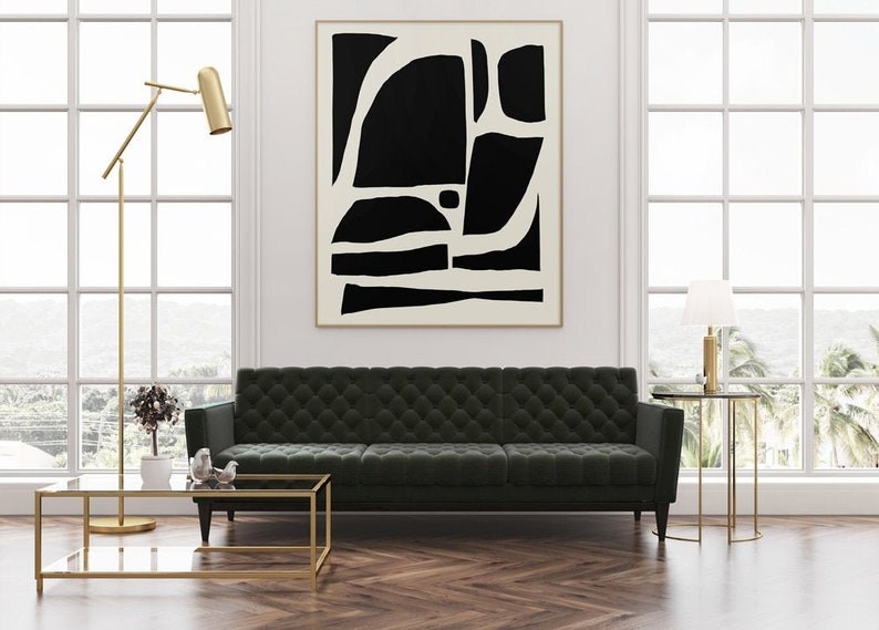 Large Abstract Art Large wall art Black and White Art Large image 0