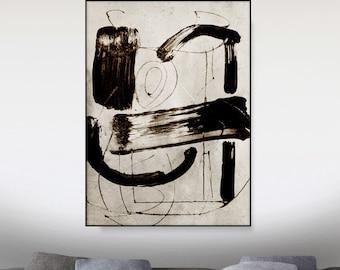 Printable Abstract, Large Wall Art, Vintage Style Print, abstract art, Original Art, Minimalist Art, Mid Century Art, Black and White art