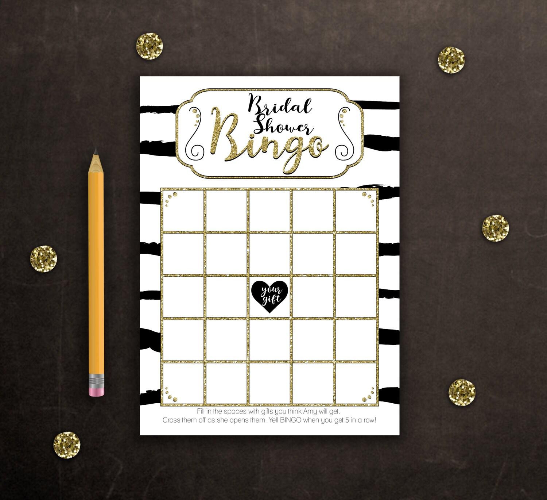 Stripes and Gold Glitter Bridal Shower Bingo DIY Instant