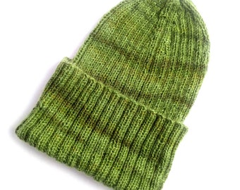 5753cf8359e Green Granite Tor - 100% pure finest merino wool hand knitted woolly hat  beanie - compact and stretchy - no static or frizz - natural fibres