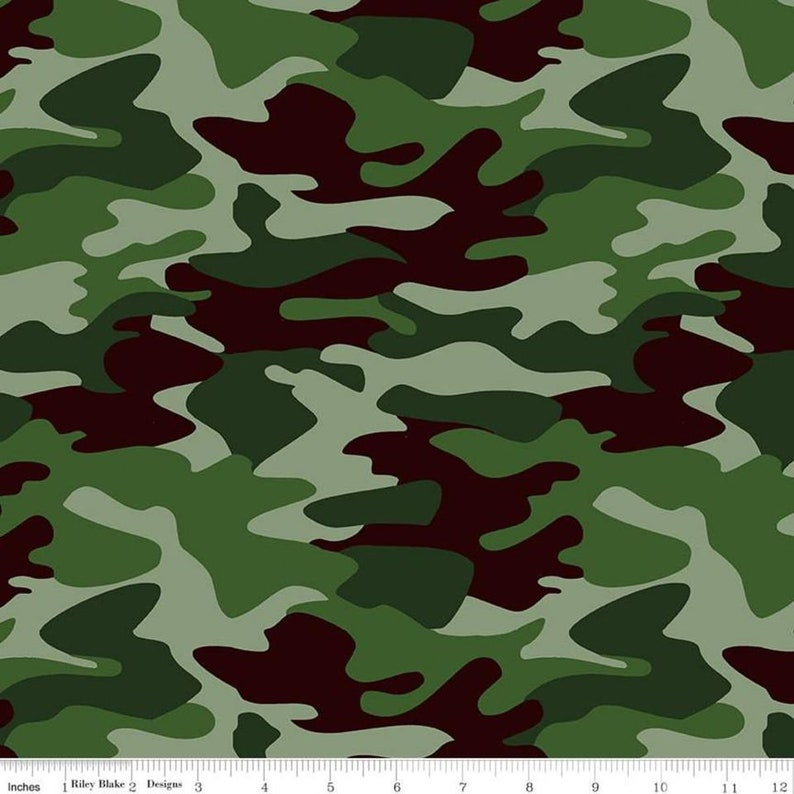 100/% Cotton Fabric by the yard by Riley Blake Designs Nobody Fights Alone:  Camo in Green