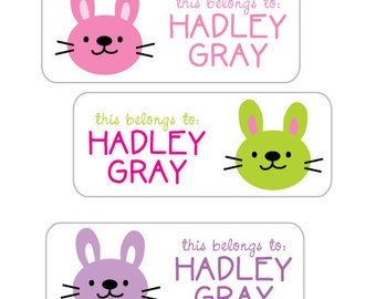 Daycare Waterproof Labels, Personalized School Stickers, Dishwasher Safe, Baby Bottle Labels, Sippy Cup Stickers, Baby Bunny, Girls stickers