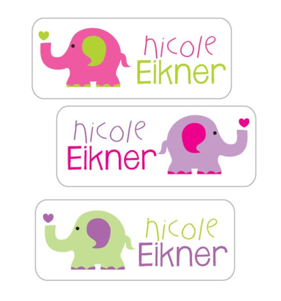 Personalized Waterproof Stickers Floral Preppy Stickers School Labels Girls School Name Labels