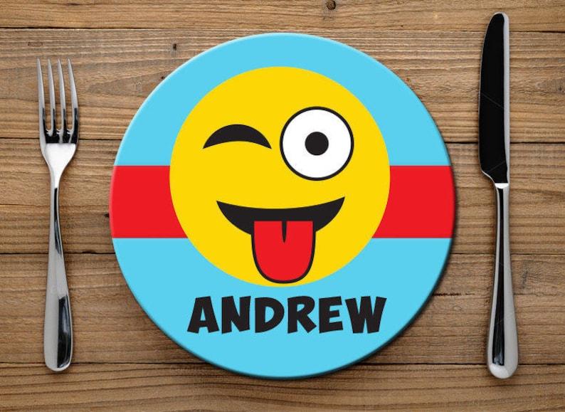 Emoji Melamine Plate for Kids, Silly Emoji Plate for Boys or Girls,  Personalized Kids Plate for Dinner, Childs Melamine Plate