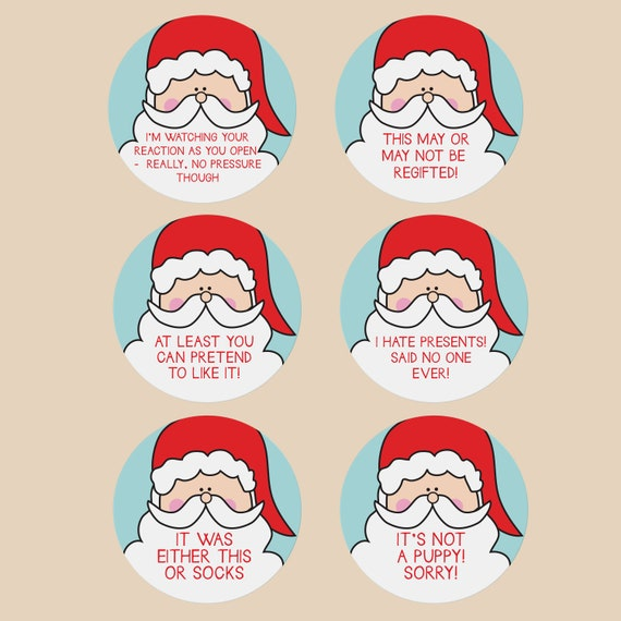 funny holiday gift tags santa gift stickers witty sarcastic etsy