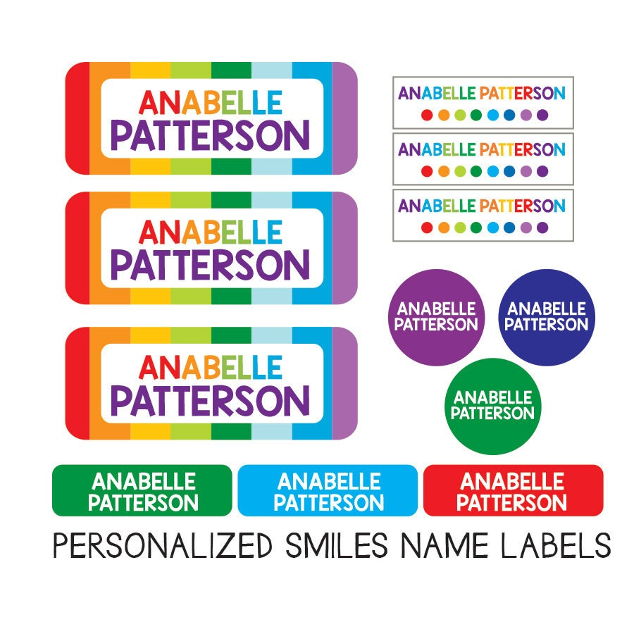 Girl name labels school supply variety pack labels daycare labels rainbow name labels waterproof clothing tags iron on personalized
