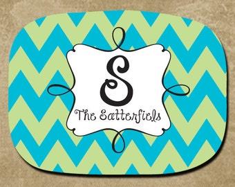 Platter, Personalized, Serving Tray, Chevron Platter, Custom Name Platter, Wedding Gift, Bridal Party, Hostess, Housewarming, Monogram