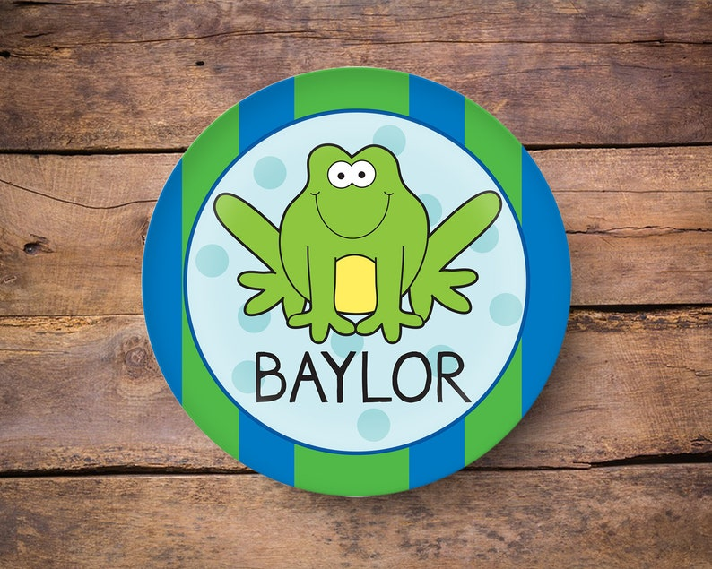 Frog Plate Kids Plate Personalized Melamine Plate for Boys