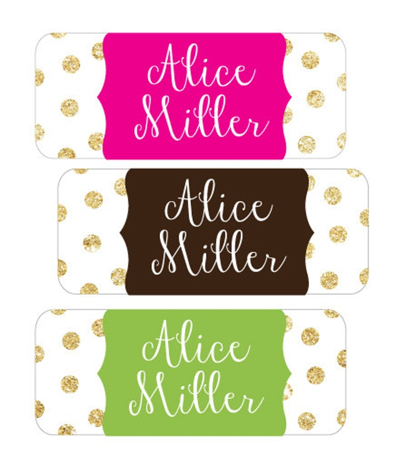 Gold Glitter Waterproof Stickers School Labels Personalized Dishwasher Safe Stickers for school daycare Baby Bottle Labels Name Labels