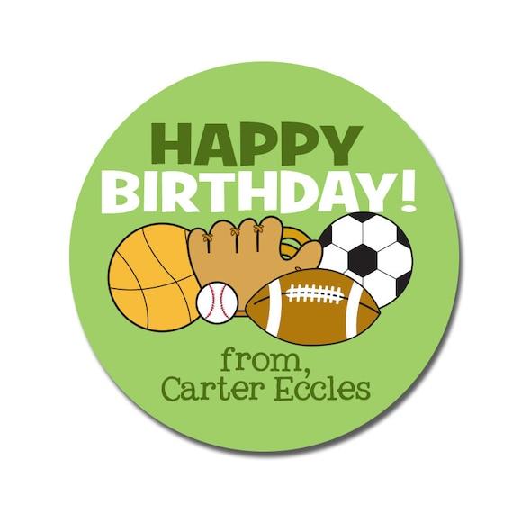 sports birthday stickers boy happy birthday gift tags for etsy