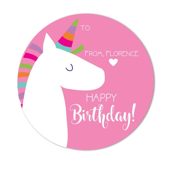 Unicorn Birthday Stickers Favor Gift Tags