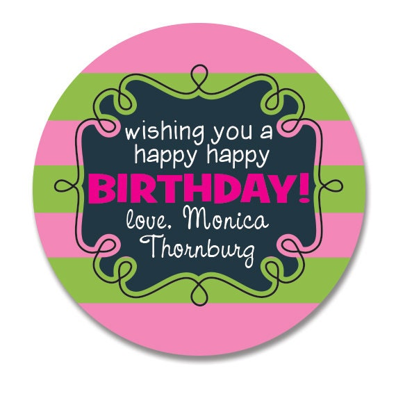 Preppy Pink And Green Birthday Gift Stickers Personalized