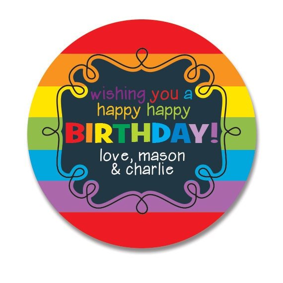 Rainbow Birthday Gift Stickers Personalized Happy