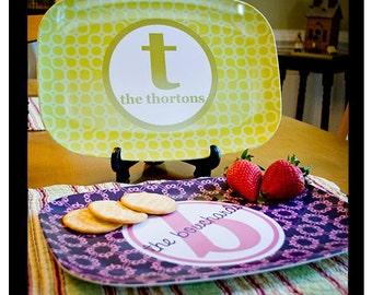 Melamine Platter, Personalized Serving Tray, Custom Platter, Hostess Gift, Housewarming, Mustard Color, Kitchen Decor, Monogram Platter