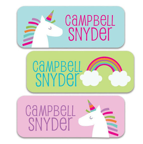 unicorn name labels personalized waterproof stickers for etsy
