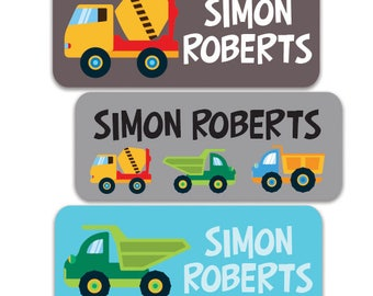 Boy Name Labels, Daycare Personalized Waterproof School Name Labels, Waterproof Labels, Dishwasher Safe, Construction Trucks