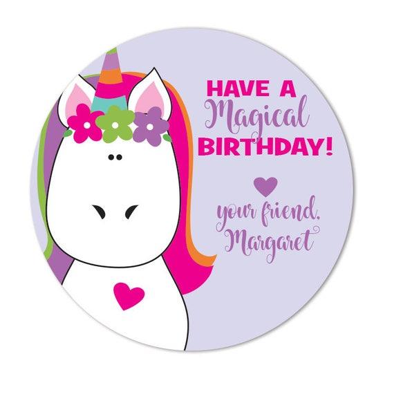 Birthday Gift Stickers Unicorn Happy Labels
