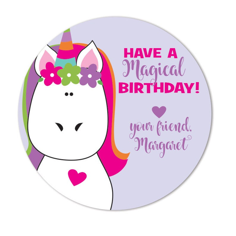 Birthday Gift Stickers Unicorn Happy Labels