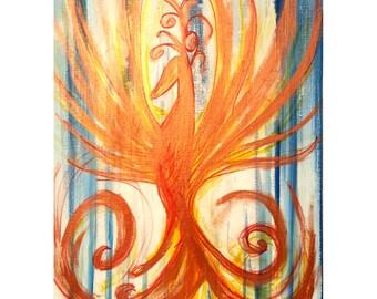 Phoenix, Art, Painting, Fantasy, Abstract, Father's Day, Present, Original, Acrylic, Canvas Art, Abstract Art, Wall Art, Bird Art, Fire Bird