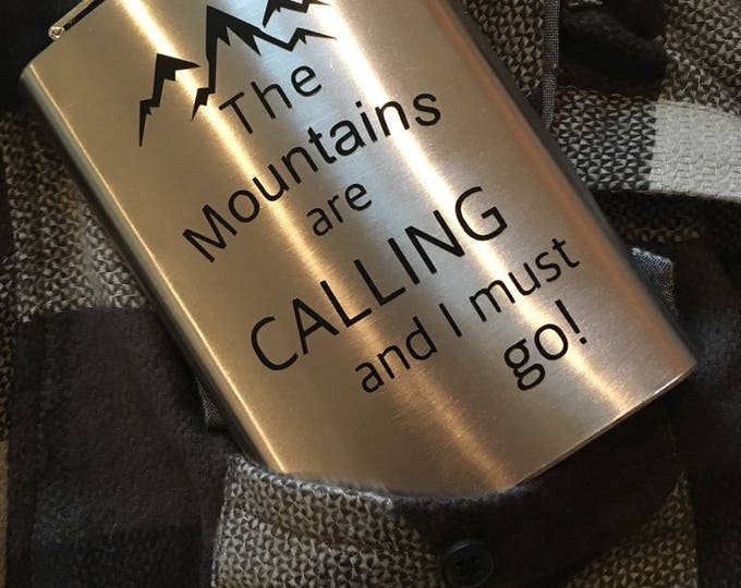 The Mountains are calling Stainless Steel Flask-8oz