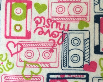 Music Fitted crib sheet-80s mixtape bedding/Flannel Bedding/Standard Crib Sheet/Pink Fitted Crib Sheet/Fitted Crib Sheet By Spoiled Elephant
