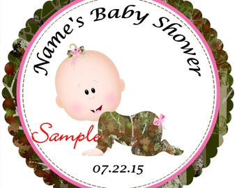 Pink Camo - Mossy Oak - Realtree Girl Personalized Stickers Favor Labels, Party Favor Stickers, Birthday Stickers, Baby Shower reference {4}