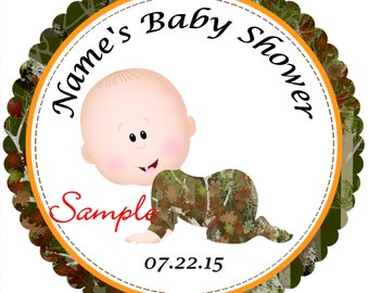 Camo - Mossy Oak - Realtree Boy 5 Personalized Stickers - Favor Labels, Party Favor Stickers, Birthday Stickers, Baby Shower