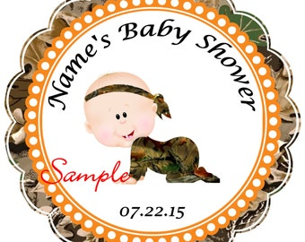 Camo - Mossy Oak - Realtree Boy 3 Personalized Stickers - Favor Labels, Party Favor Stickers, Birthday Stickers, Baby Shower