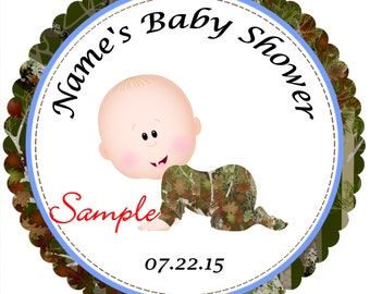 Camo - Mossy Oak - Realtree Boy 1 Personalized Stickers - Favor Labels, Party Favor Stickers, Birthday Stickers, Baby Shower