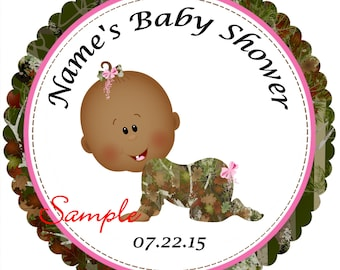 Pink Camo - Mossy Oak - Realtree AFAM Girl Personalized Stickers - Favor Labels, Party Favor Stickers, Birthday Stickers, Baby Shower RN{3}