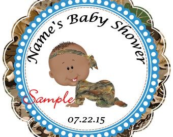 Blue Camo - Mossy Oak Realtree AFAM Boy Personalized Stickers - Favor Labels, Party Favor Stickers, Birthday Stickers, Baby ShowerRN{1}
