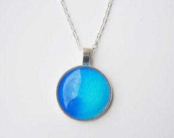 Watercolour Necklace, Blue Necklace, Abstract Art, Artist Gift, 1 Inch Pendant, Under 15, Statement Necklace, Pale Blue Pendant