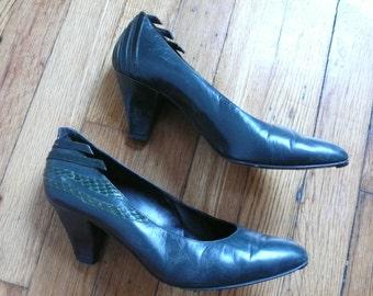 Green 80s Heels Size 6.5/7