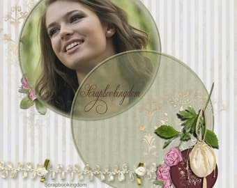 Aristocracy Mini Scrapbook Kit . circular theme , cutouts, roses, 8 digital papers, 28 feminine embellishments