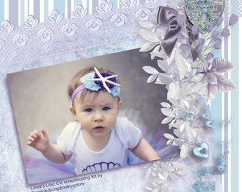 CU Digital scrapbooking Kit Linda's Lilac. Personal or commercial use. 8 papers & 20 embellishments