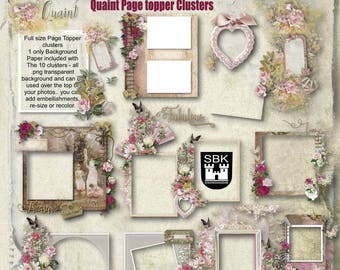 "Page Topper Scrapbooking Clusters ""QUAINT"" 10 full page size pre set clusters. Use your own papers and put the cluster over your photos"