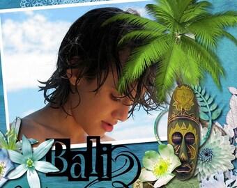 Bali Scrapbook kit BALI BREEZE tiger, elephant,Balinese embellishments, flowers , stamps vacation scrapbooking