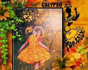 "Digital Scrapbook Kit ""CALYPSO MIX"" Flowers, Music, Dancing,bright colors, Scrapbooking Embellishments and Backgrounds"