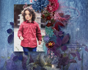 AMORILLO BLEU digital scrapbooking Kit - Loaded with lots of different flowers . Very feminine kit 20 papers & 59 embellishments