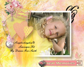 Lemonique Scrapbook Kit - Full size kit with digital scrapbooking kit with Papers and embellishments